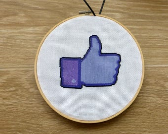 Facebook Like Button Cross Stitch Pattern. Social networking Cross Stitch. Modern Funny Hoop Art Wall Decor. FB Like. Instant PDF Download.