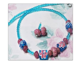 Aqua Blue and pink Lampwork Artisan necklace and earrings set, choose your fittings