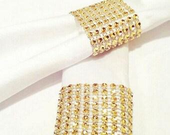 Set of 50 God Rhinestone Napkin Rings,Bling Napkin Rings,Gold Napkin Ring Diamond,Rhinestone Chair Bow Covers,Crystal Wedding Napkin Rings