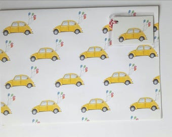 Yellow Volkswagen Beetle Wrapping Paper & Gift Tags - A3 Sheets - Ideal for Small Gifts