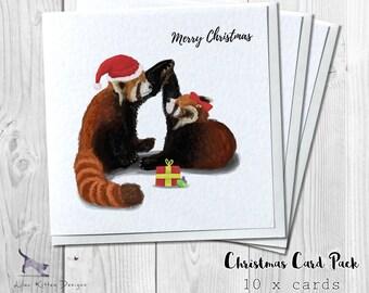 PACK OF 10 - Red Panda Couple - Handmade Christmas Greetings Cards
