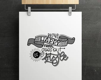 PRINTABLE: Being Happy Print- 8.5 x 11