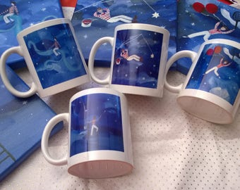 Starry skies (set of 4 mugs) derived from my paintings
