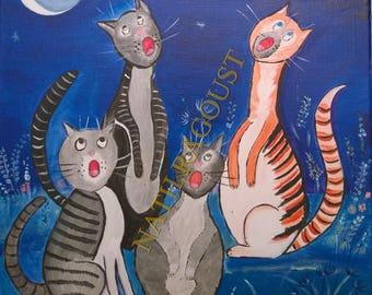 """""""Singing night"""" - painting - naive art - cats"""