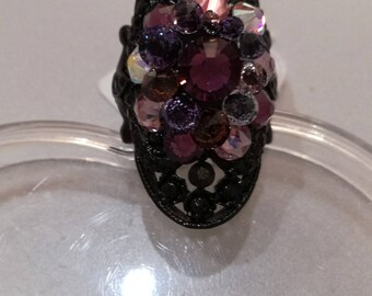 """Ring """"Black and Crystal"""" - personal Creation"""