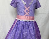 Rapunzel from Tangled-inspired Comfy T-Shirt Dress sizes 2, 3, 4, and 5 (ages 2-3, 3-4, 4-5, 5-6)