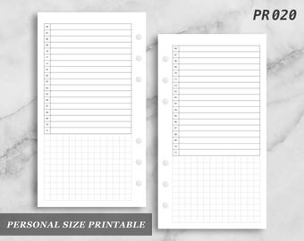 Personal Size Printable Day on One Page Do1 Do1P Daily Time Timed Schedule Digital Download PR020