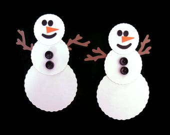 Paper Snowman - Snowman Die Cuts - Paper Embellishments - Card Making - Holiday Decorations - Gift Tags - 12 in  Package