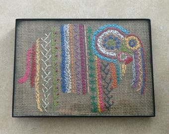 Framed Hand-stitched Elephant Art
