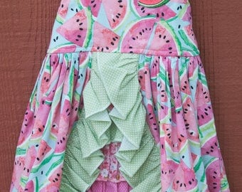 Sun dress - Pink and green watermelon slices (2T)