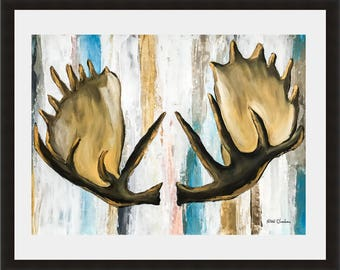 Moose Antler, Woodland Animals, Antler painting, Painting on paper, Abstract art, Forest Print, Modern Wall Art, Home Decor, Holiday Gift
