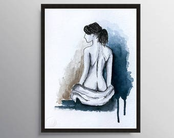 Nude Art, Bathroom Decor, Watercolor Painting, Naked woman, Nude Woman, Figure painting, Bedroom Art, Naked art, Modern Art, Art Print