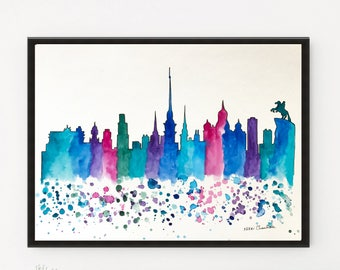 St Petersburg Skyline, City art, Skyline print, Cityscape painting, Russia, Illustration art, Travel art, Wall art, City Print, Holiday gift