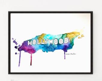 Hollywood, Los Angeles print, Cityscape, Travel art, City art, Illustration, Printable art, Poster print, Watercolor print, City print