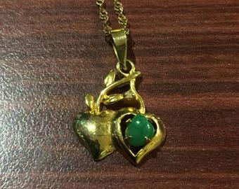 Gold & Jade Heart Pendant on 18K Yellow Gold Chain
