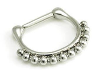 Bead Trim Small Surgical Steel Hinged Septum Clicker Ring - UK Seller