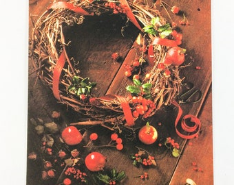 Unused Hallmark Holly Berry Wreath Greeting Card with Envelope