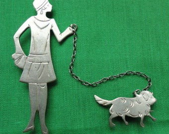 Art Deco Flapper Walking Dog Brooch