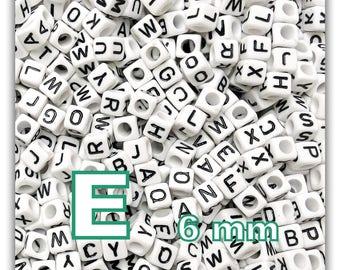 """cube alphabet """"E"""" 6mm - letter beads 50 beads"""