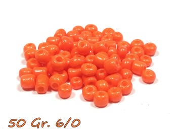 50gr of large 6/0 seed beads 4 mm Orange