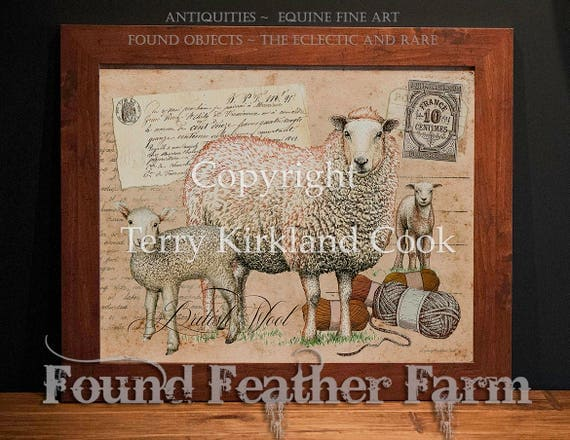 "British Wool ~ Original Vintage Art Collage 20"" x 24"" Framed Giclee Print"