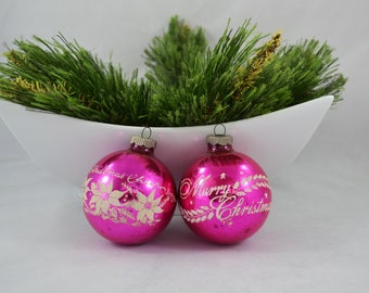 Vintage Stenciled Shiny Brite Pink Glass Ball Christmas Ornament, Pink And White Ornament