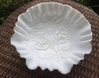 """Vintage Imperial Satin Glass """" Open Rose"""" White Milk Glass with Ruffled 3-1 Edge 9 inches across"""