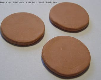 """SALE 3pc 31mm 1.25"""" bisque DIY ceramic blank Disc Diffuser aromatherapy clay paint your own ITPH pottery essential oil eo jewelry refill"""