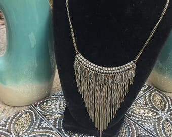 Antique silver chain bib necklace