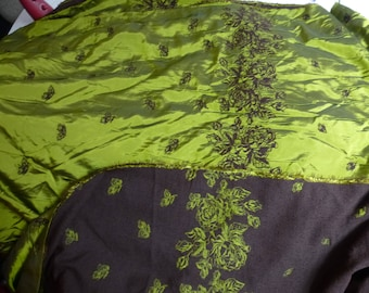 NO. 11 FABRIC SATIN CHANGING EFFECT - REVERSIBLE - KHAKI BROWN EMBROIDERY