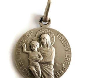 antique sterling silver medal Notre Dame de Fourvière by Alphonse Rivet