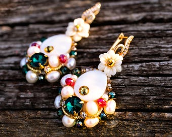Freshwater Pearl Earrings Bridal Wedding Earrings Anniversary Jewelry Embroidered OOAK Earrings Beaded Jewelry Inspiration High Fashion