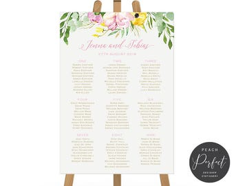 Printable or Printed Wedding Seating Chart, Seating Plan, Gold, Pink Flowers, Digital or Professionally Printed, Springtime Beauty