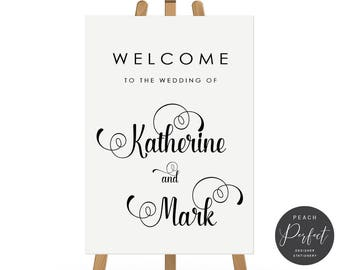 Black and White Modern Wedding Welcome Sign, Wedding Poster, Free Colour Changes, DIY Printable We Print, Katherine Suite