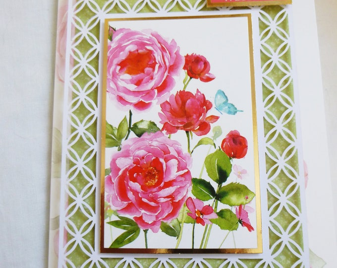Filigree Birthday Card, Greeting Card, Decoupage Card, Floral with Pink and Red Roses, Female, Any Age, Mother, Daughter, Sister, Niece