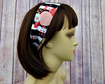 Reversible Headband - Headband for Women - Adult Headband - Womens Headband - Handmade Fabric Headband - Floral Stripes and Triangles