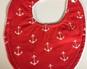 Red Anchor Baby Bib