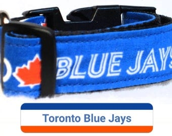 """Toronto Blue Jays Dog Collar, Dog Collars, Side Release Buckles, Small Dog Collars, Puppy Dog Collars, Large Dog Collar, 1"""" & 1.5"""" Inch Wide"""