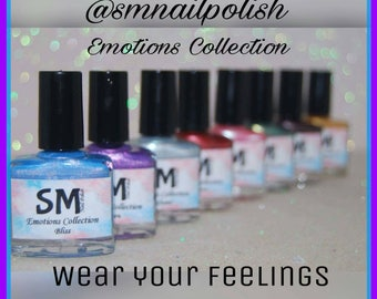 10% OFF Emotions Collection/Shimmery Nail Polish/SM Nail Polish/ 5 Free Handmade Aussie Nail Polish