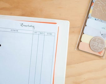 A5 Planner Inserts for Travel - Itinerary, accomodation planner, travel planner, expense tracker