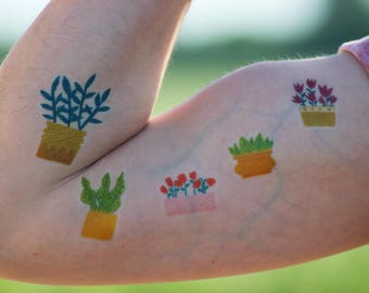 """Plants"" collection - temporary tattoos x 6"