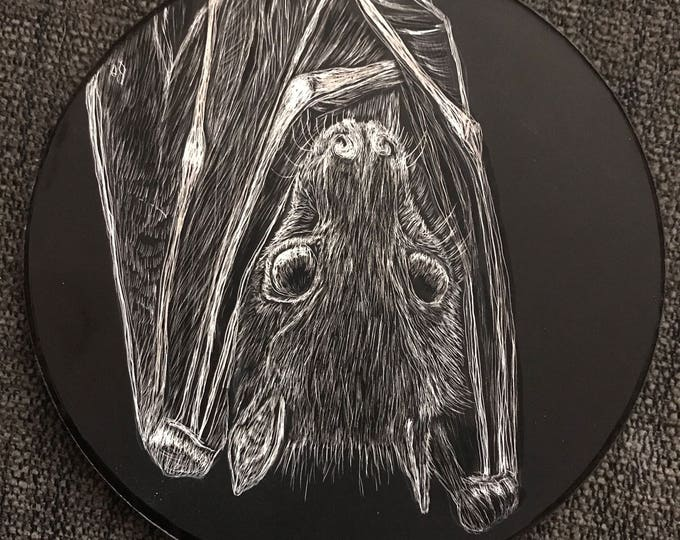 Fruit Bat Scratchboard Wall hanging/Ornament to benefit the Organization for Bat Conservation! One of a kind pieces to bring bats the love!