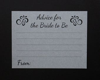 Advice for the Bride To Be Cards - Grey Wedding - Bridal Shower Games - Marriage Card - Guests Fill in the Blank - Kraft Gray - Matrimony