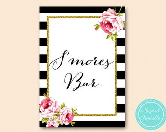 S'mores Bar Sign, Printable Smores Bar Sign, Instant Download, S'more Bar Sign, Printable Sign, Smores Bar, S'mores Sign BS10 BS10B