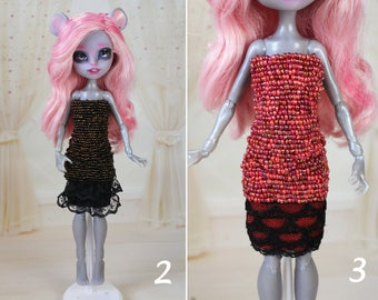 4 STYLES! Clothes/Outfit/Dress for Monster High dolls/beadwork/Little sister body