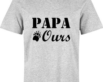 PAPA bear: T-shirt for men - 100% hand made grey