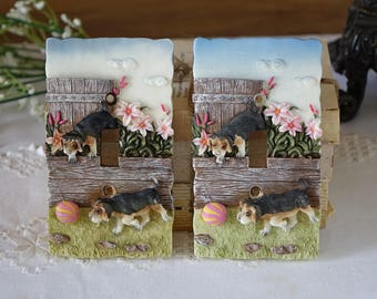 Vintage Switch Plate Cover - Electrical - Resin dogs switch plate cover - Cottage house