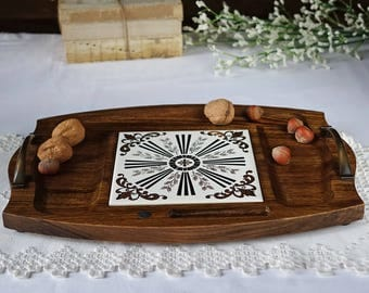 Mid Century wood serving platter - Party tray - Ceramic hot plate - Cheese serving tray - Made in JAPAN