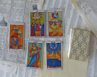 Vintage tarot of Marseilles - Vintage playing cards - Fortune telling cards - Vintage deck