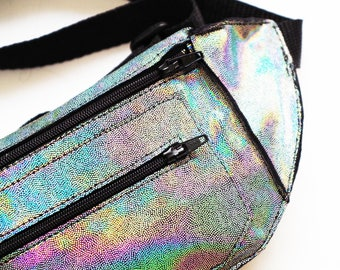 Holographic Iridescent Silver Festival Burning Man Fanny Pack Bum Bag